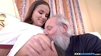 Vigorous grandpa cant resist to a nasty teens big boobs