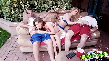 Jaycee Starr and Natalie Knight h. out with their dads out by the pool