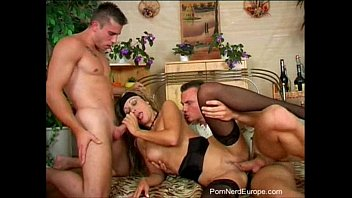 Rough Threesome For Natural Euro Babe