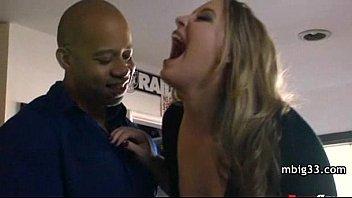 Cheating Big-tit blonde MILF fucks daughter's BF's big black cock