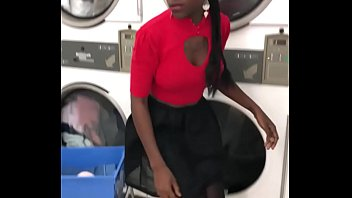 Ebony girl picked up in launderette for anal sex