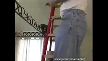MILF Slut Mindy from YummyMama sucks & fucks the handyman while husband films! He shoots a massive load on her face!