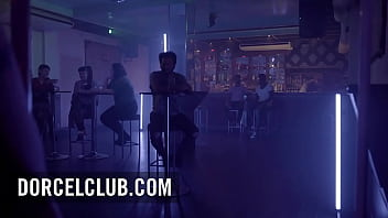 French hot brunette Clea Gaultier seduces the bartender in the bathroom 12 min