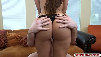 Teen babe shared her BF with her stepmom on the couch