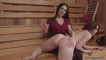 Petite redhead otk spanked in sauna