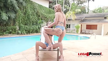 Poolside orgy with Polly Petrova & Larissa Leite (3on2 DP, Fisting) YE076 94 sec