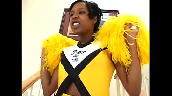 Horny black cheerleader Too Pretty For Porn taking white cock