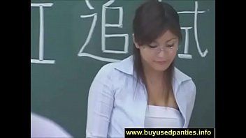 Sexy japanese teacher ends with pantie...