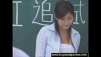 Sexy japanese teacher ends with pantie cum shot...