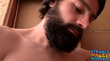 Straight bearded amateur Mickey Waters strokes cock and cums