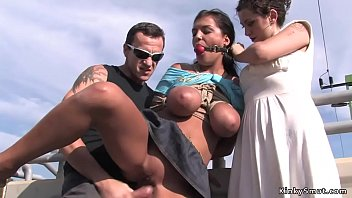 Tied huge tits Romanian slave outdoor