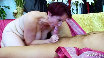 BBW GRANNY ANJA WITH SHORT  RED HAIR LET YOUNG BOY FUCK HER