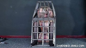 Caged blonde teen submissive punished and enslaved young Chaos tormented to tear