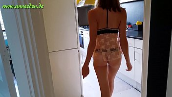 German teen girls tight pussy gets fucked in the kitchen