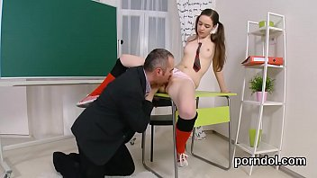 Fervent schoolgirl gets seduced and drilled by aged schoolteacher