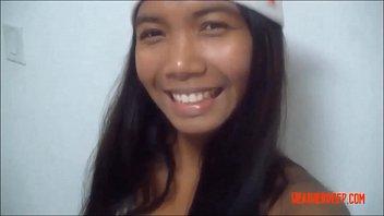 HD Christmas xmas porno deepthroat throatpie video from Thai teen Heather Deep