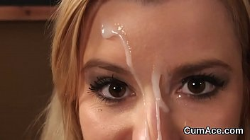 Spicy Model Get s Jizz Shot On Her Face Swallo Her Face Swallowing All The Cum