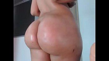 Hot brunette showing big round ass