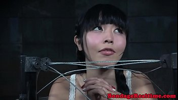 Dildo Fucked Asian Slave Drooling During Bdsm