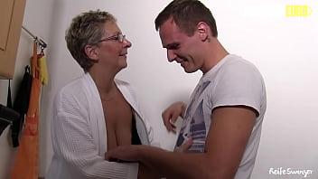 AMATEUR EURO - (Erna & Don John) BBW German GILF Rides Young Guy At Her Place