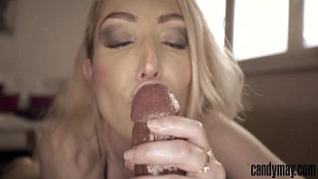 Candy May Blonde gives handjob and tongue job to BBC