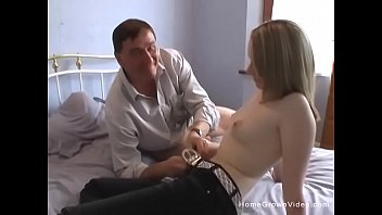 Amateur British blonde sucking an older man