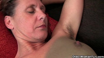 Nudes of old woman - Granny inge gets fingered up her full bushed pussy