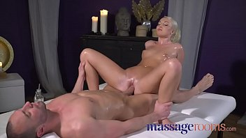 Massage Rooms Oiled firm young freckled blonde masseuse bouncing on stud