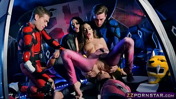 Power Rangers cosplay and group fuck with pornstars 6 min