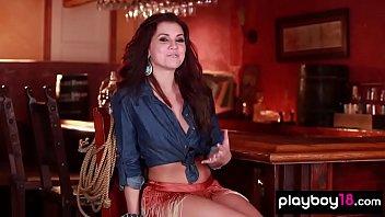 Nasty cowgirl Mariela Henderson stripping in a bar