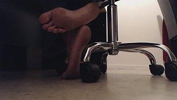 Sneaky Foot Boy Voyeur Watches Feet Underdesk Dirty Soles and Crunching Toes