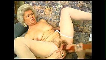 2 hairy old ladys are going crazy with a big double dildo