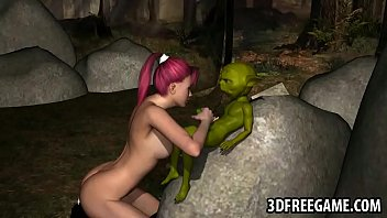 Sexy 3D redhead babe sucks and tugs on Yoda's cock