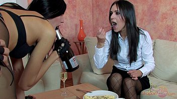 Straponcum: Breakfast With Strap-On Maids. Blowjob.