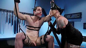 Gagged man gets femdom in bdsm swing 5 min