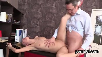 Lovable college girl was teased and pounded by her senior teacher