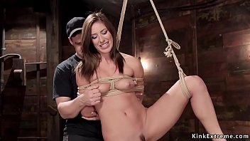 Hot brunette tortured on hogtie