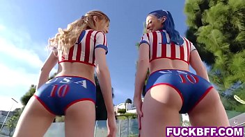 Soccer teen bffs compete on a big cock to become captain