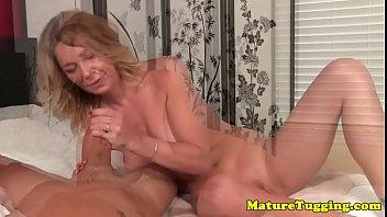 Gilf amateur wanking cock sensually