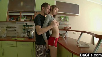 Petite Russian gets assfucked in the kitchen