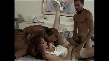Dirty curly slut has catched  and wildly double penetrated after drunken party by two waiters