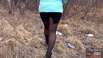 Good sex outdoors with a married hot wife in pantyhose for $ 40 and a mouthful of sperm [XSanyAny] 11 min