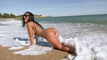 Sand in bikini - Romanian goddess honey demon gets her big ass fucked in public