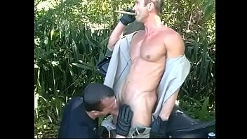 Two Ass Licking Gay Cops Give Head And Bang Ass Before Jizzing Their Cum Loads