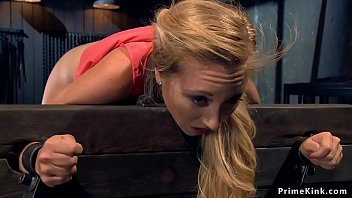 Bent over in stock blonde is flogged