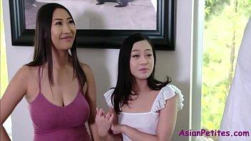 Asian Mom & Sister's Horny Hospitality- Jamine Grey & Sharon Lee thumbnail