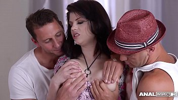 Anal inspectors fill curvy pornstar Lucia Love's asshole & pussy with cock