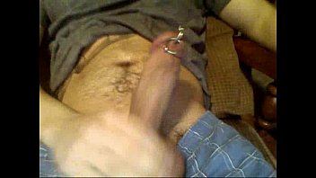Pierced gay cock Solo with a pierced cock