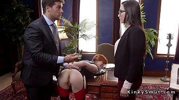 Bondage secretary Butt plugged redhead banged in threesome ffm