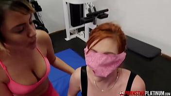 PORNSTARPLATINUM Redhead Lauren Phillips Blows Guy In Gym 3way